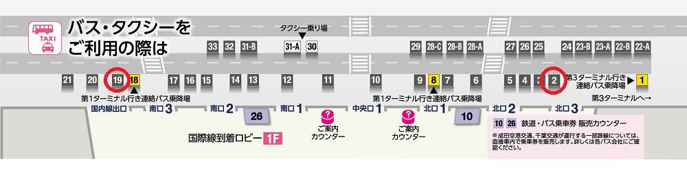 第2ターミナル『エアポートバス東京・成田』停留所
