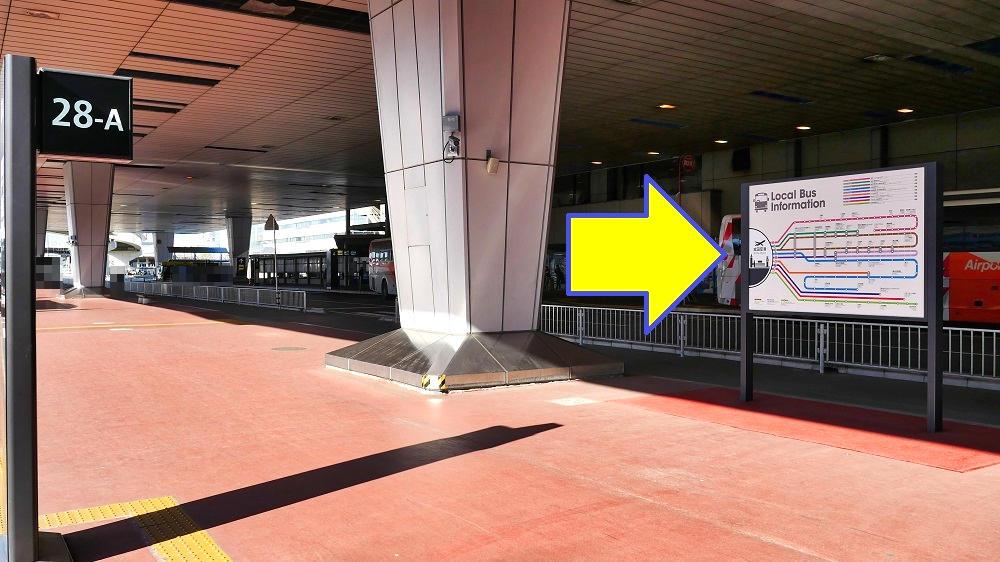 第2ターミナル【28番-A】停留所向かいにある近隣路線の路線図