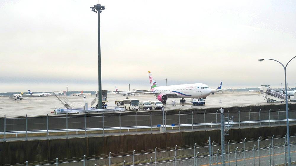 芝山鉄道沿線から見た成田空港の様子