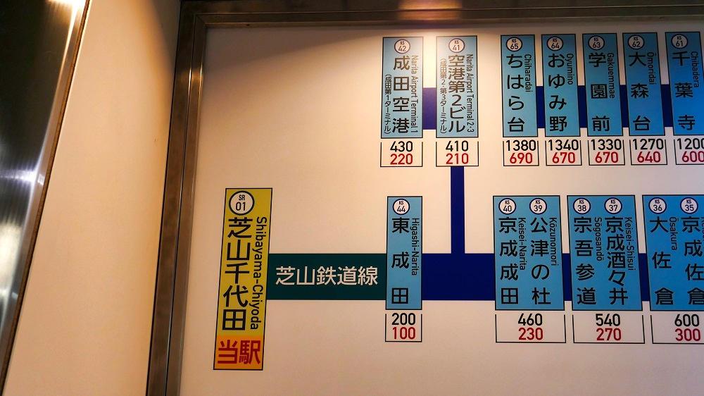 芝山千代田駅に掲示されている路線図・運賃表