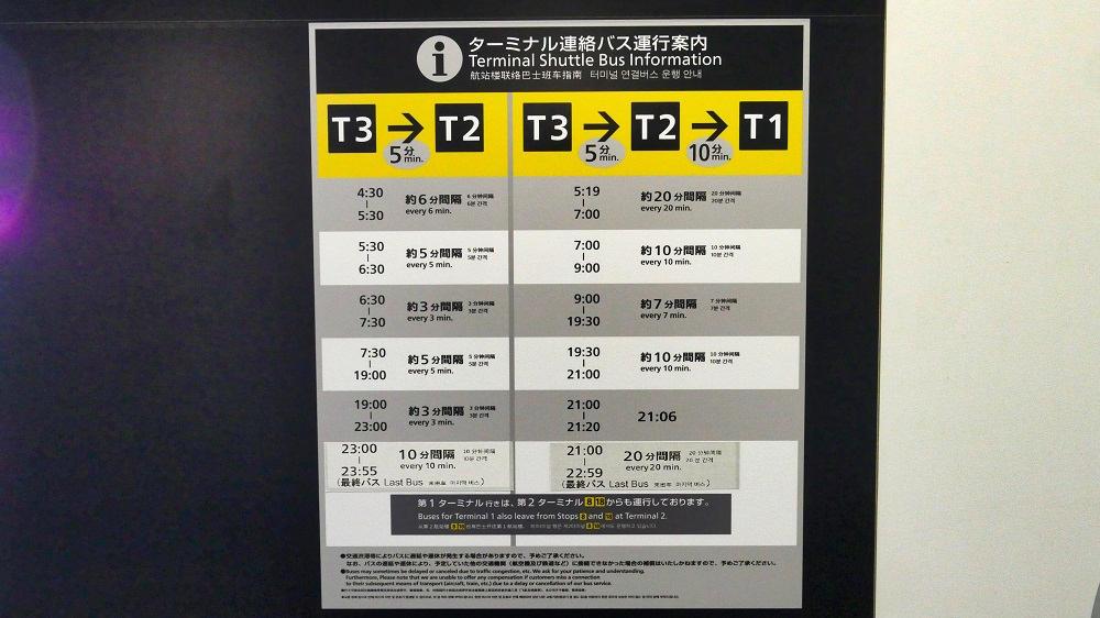 ターミナル連絡バスの時刻表
